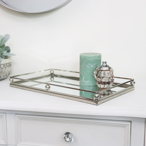 Rectangular Silver Mirrored Tray