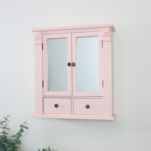 Pink Mirrored Bathroom Wall Cabinet