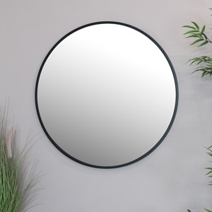 Round Black Wall Mirror 80cm x 80cm