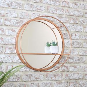 Round Mirrored Copper Wall Shelf