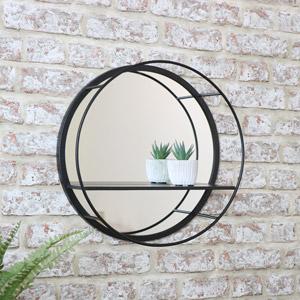 Round Mirrored Black Wall Shelf