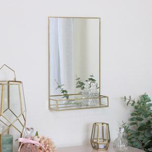 Gold Rectangle Mirrored Shelf
