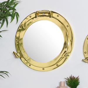 Brass Metal Porthole Mirror 38cm x 38cm