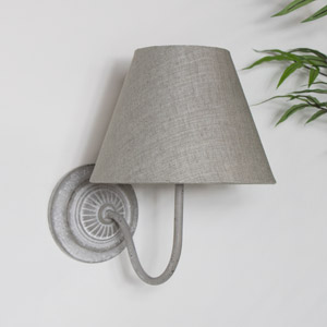 Vintage Grey Metal Wall Light