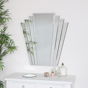 Large Art Deco Fan Frameless Wall Mirror