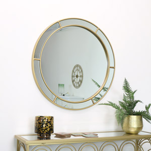 Large Round Gold Window Mirror 80cm x 80cm