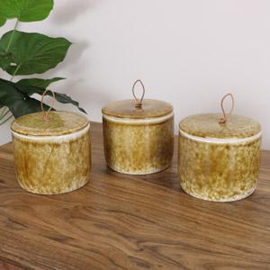 Brown Porcelain Tea, Coffee & Sugar Jars