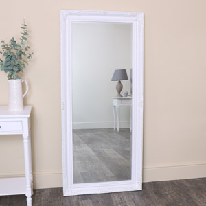Large White Distressed Wall/Leaner Mirror 73cm x 163cm