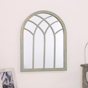 French Grey Arched Window Mirror 45cm x 35cm