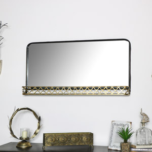 Large Black Wall Mirror with Gold Shelf