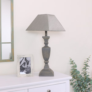 Grey Washed Square Table Lamp