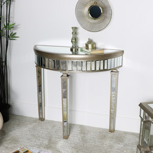 Gold Mirrored Half Moon Console Table - Deco Range