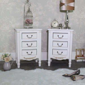 Pair of Ornate Antique Cream 3 Drawer Bedside Chests - Adelise Range