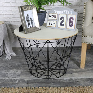 Black Metal Basket Style Side Table with Wooden Top