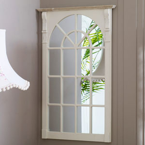 Large Cream Window Style Wall Mirror - Lyon Range 66.5cm x 100cm