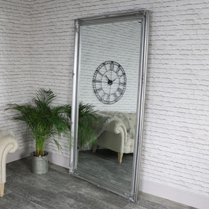 Huge Full Length Ornate Silver Wall/Leaner Mirror 119cm x 220cm