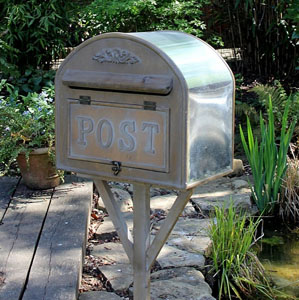 Free Standing Metal and Wood Post Box
