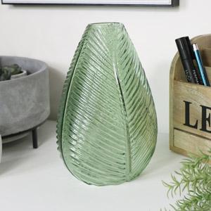 Large Green Leaf Glass Vase