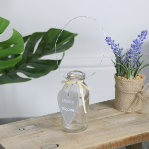 Small Glass Heart Bottle Vase - Pretty Blooms
