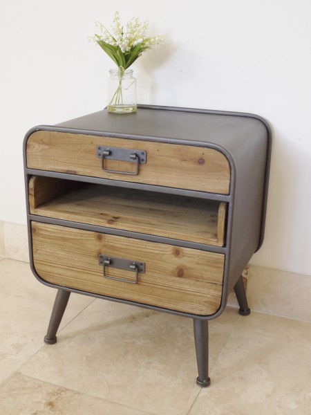 Retro Range - 2 Drawer Bedside with Pull Out Shelf