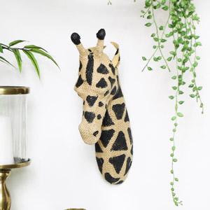 Hessian Wall Mounted Giraffe Head
