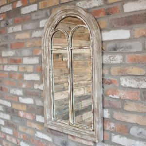 Rustic Wooden Arch Window Mirror 54cm x 94cm