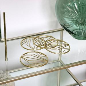 Round Geometric Gold Coasters