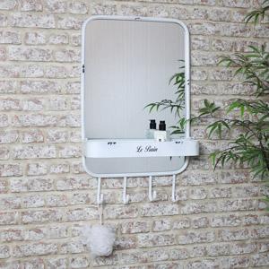 Large White Mirror with Shelf & Hooks 48cm X 80cm