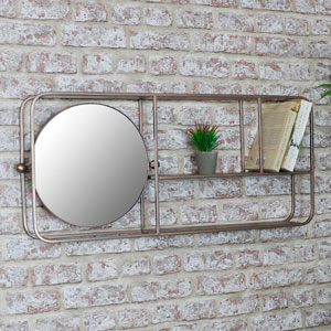 Gold Industrial Mirrored Wall Shelving Unit