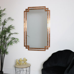 Copper Art Deco Distressed Mirror