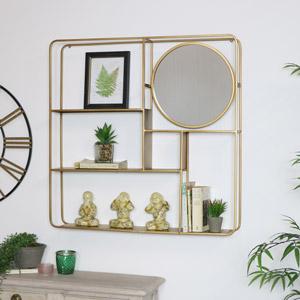 Large Gold Multi Shelf Mirrored Wall Unit