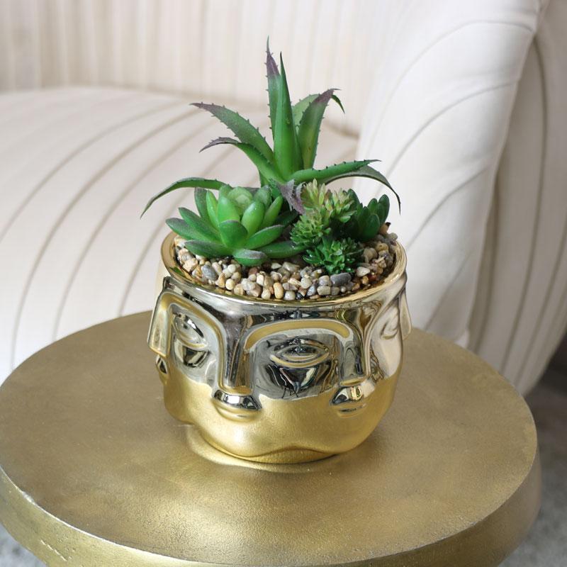 Gold Faces Bowl Planter Pot