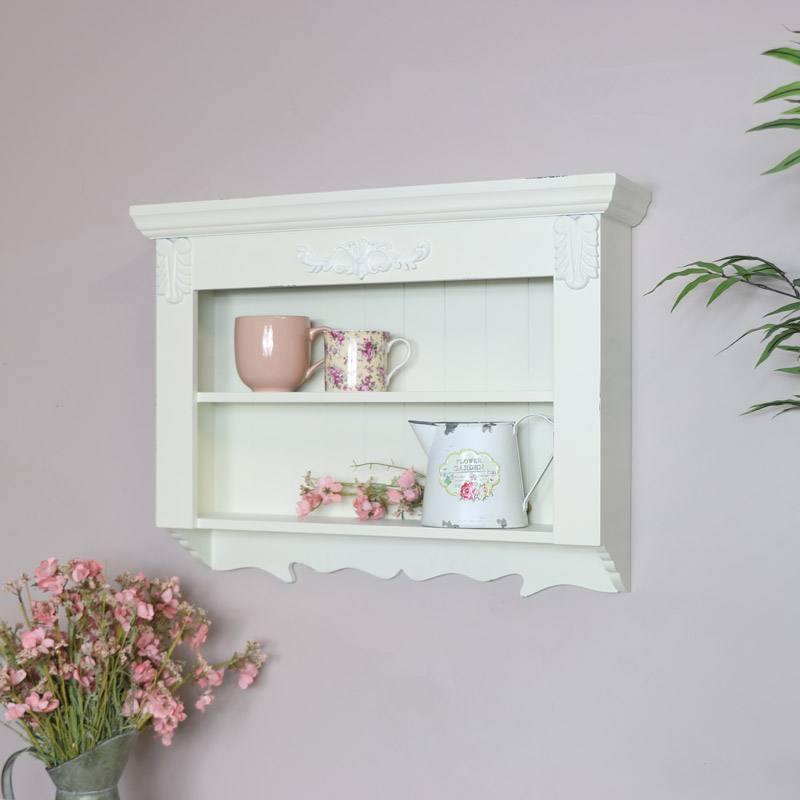 Ornate Cream Wall Shelf Unit