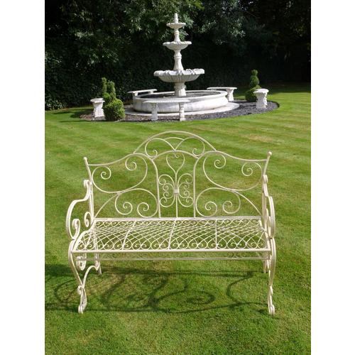 Cream Metal Garden Bench