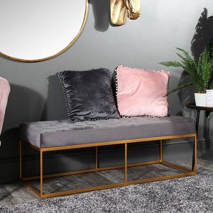 Grey Velvet Buttoned Boudoir Bench