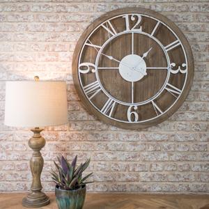 Large Wood & Metal White Skeleton Clock