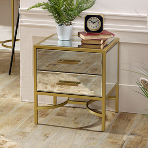 Gold Framed Mirrored Bedside / Occasional Table - Venus Range