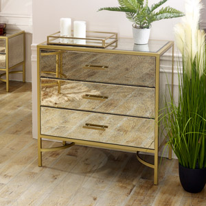 Large Gold Antique Mirrored Chest of Drawers  - Cleopatra Range