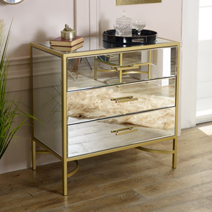 Gold Frame Mirrored Chest of Drawers - Venus Range