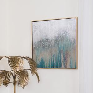 Green & Silver Crystal Abstract Wall Print Canvas
