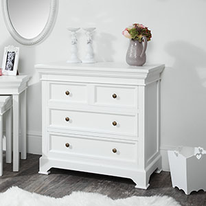 White 4 Drawer Chest of Drawers - Daventry White Range