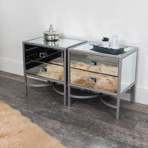 Pair of Silver Mirrored Bedside Tables / Occasional Tables - Thalia Range