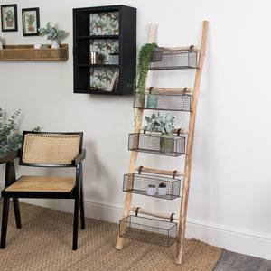 Rustic Wooden Ladder with 5 Wire Storage Baskets