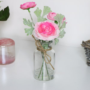 Faux Pink Flowers in Glass Jar