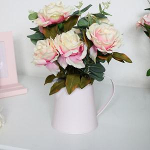 Faux Rose Bouquet in Cream Metal Jug