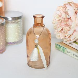 Decorative Orange Glass Bottle Vase