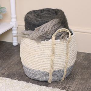 Large Round White & Grey Seagrass Basket