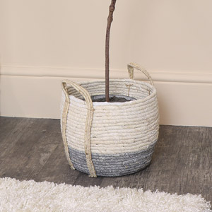Medium Round White & Grey Seagrass Basket