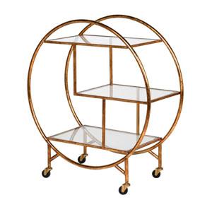 Round Gold & Glass Bar Trolley