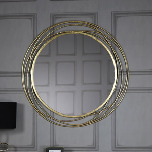 Extra Large Round Antique Gold Mirror 92cm x 92cm